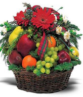 Fruit basket of 3 red Apples, 2 Pears, 2 Oranges, Grapes with 5 white Carnations