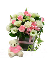 20 Pink,White Roses,Bear,Vase included