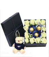 12 White Roses,3 Cholocates,Bear,Gift Box included