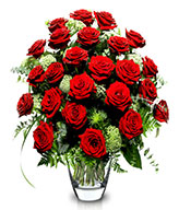 True Love: 24 red roses (Vase included)