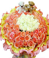 80Champagne Rose,21 White Roses,a pair of bear