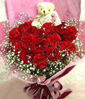 10 Red carnations,8 red roses,a bear
