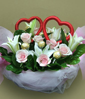 9 roses,5 Lilium,6 Cholocates
