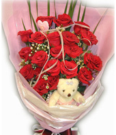 21 Roses with top class,A bear