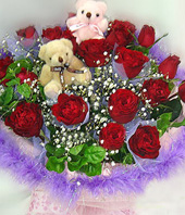 20Red roses,a pair of bear