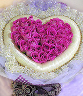48 Purple roses,hearted-shape